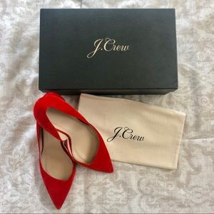 J.Crew Poppy Red Colette Suede D'Orsay Pumps